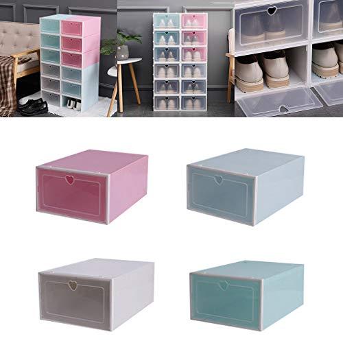 1PC Foldable Transparent Shoes Storage Box Plastic Shoes Organize Box Stackable Shoe Organizer White