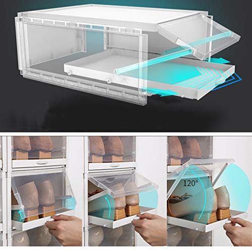 Makaor Push Drawer Type Stackable Shoe Box CaseCloset Storage Organizer Transparent Plastic Home Storage Container Office Organiser120° Amplitude Flip Open Easy to Pick Up Shoes3 Pack Blue