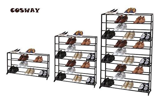 Coswayl4 Tier Shoe Rack Iron Mesh 20 Pairs Shoe Organizer Storage Portable Extendable Stand -BlackUS STOCK 4 tier black