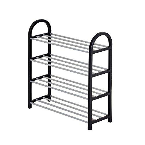 ShellMiMi Black 4 Tier Stainless Steel Shoe Rack