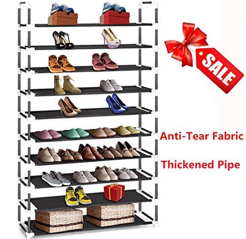HOKEEPER Heavy Duty Shoe Rack Support 100 lbs Improved 10 Tier Shoe Rack Hold 60 Pair Women Men Children Shoes Slipper Boots High Heels
