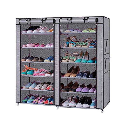 SOONEEDEAR 6 Tier Stackable Shoe Rack Storage ShelvesPortable Boot Rack Double Row Shoe Organizer Shoe Cabinet Tower with Steel Frame