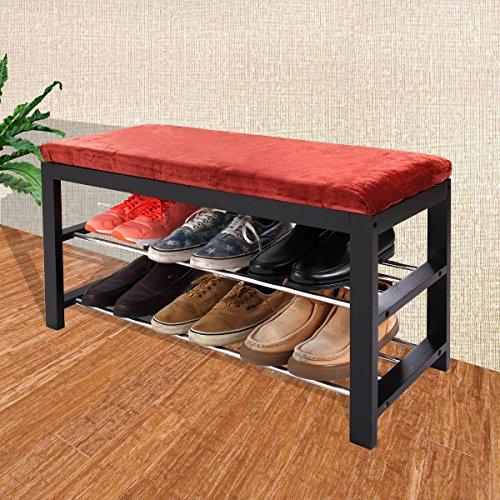 JAXPETY Black  Red Micro Fabric Shoe Rack Storage Organizer Hallway Bench