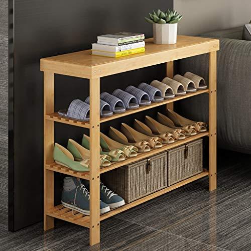 QTQZDD Natural Bamboo Shoe Rack Simple Multi-Layer Shoe Cabinet Multi-Functional Shelf Floor-Standing Shoe Rack Cabinet Tower