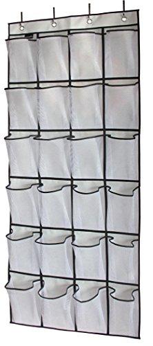 Misslo Over The Door Shoe Organizer 24 Large Mesh Pockets White