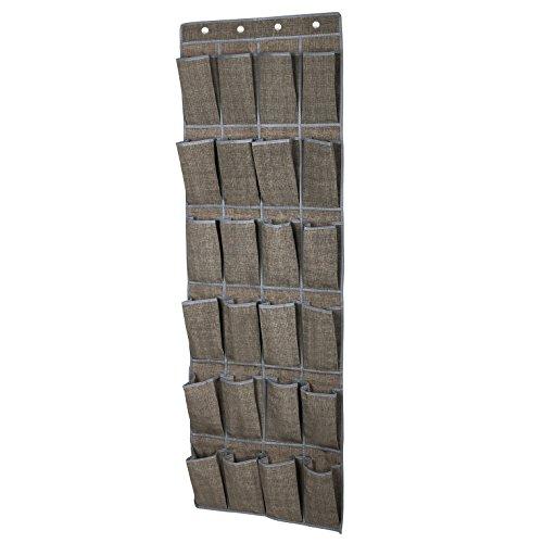 SONGMICS 24-Pocket Over-The-Door Shoe Organizer Hanging Shoe Storage Unit Light Brown URSO64K