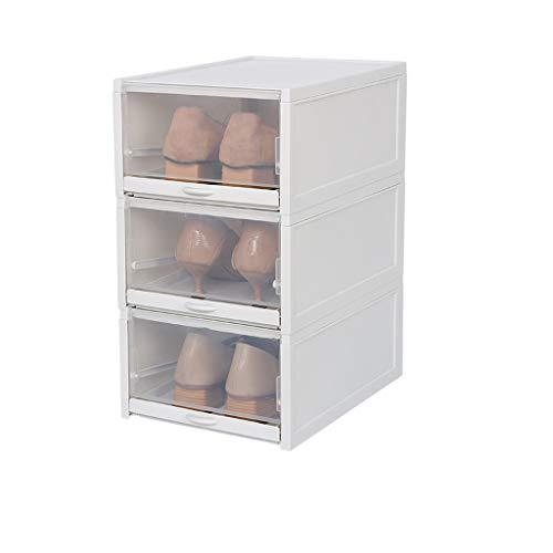 Chezaa Shoe Boxes 3pcs Stackable Shoe Storage Rack Clear Plastic Push Drawer Organizer for Closet Under Bed