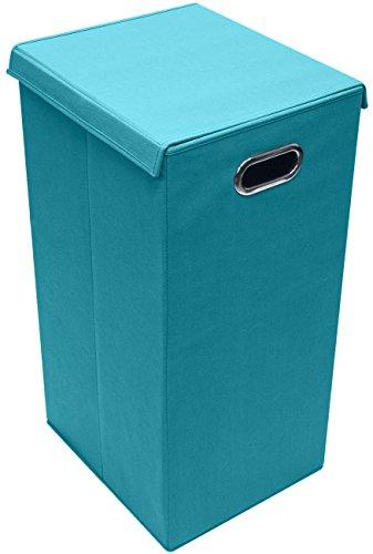 Sorbus Laundry Hamper Basket Sorter with Lid Closure - Foldable Hamper Bin Detachable and Removable Lid Portable Built-in Handles for Easy Transport Aqua