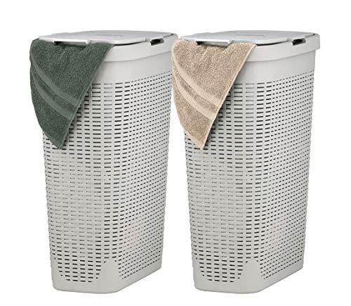 Superio Slim Laundry Hamper Beige 40 Liter 2 Pack Durable Plastic Hamper Basket with Lid Durable Washing Bin 115 Bushel Narrow and Tall Basket Bathroom Storage Dirty Cloths Easy Use Ivory
