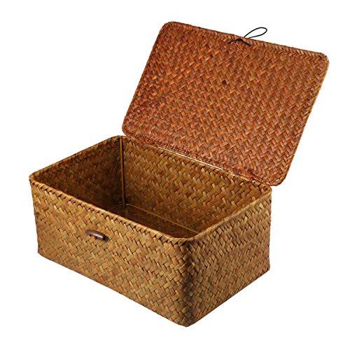 Vosarea Rattan Storage Basket Makeup Organizer Multipurpose Container with Lid L