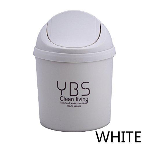 Gaosaili Mini Creative Swivelling Cover Plastic Trash Cans Storage Bucket for Desktop Home Kitchen White