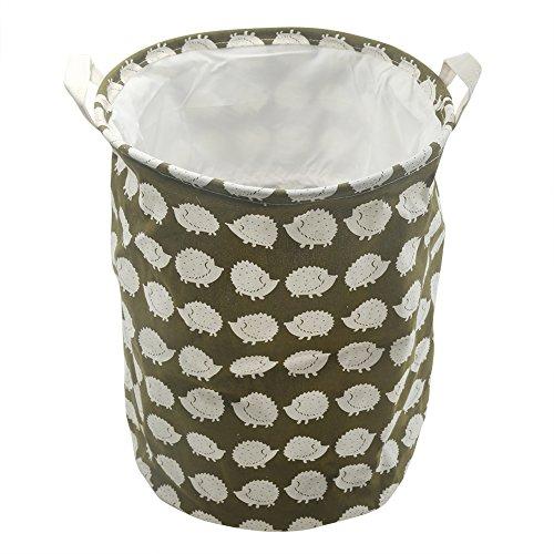 Kisstaker Laundry Hamper Bag Storage Bucket Basket Ramie Dotton Fabric Waterproof