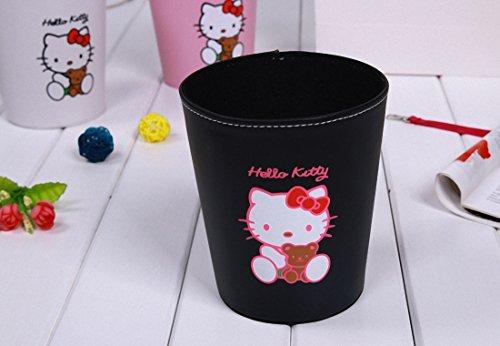 Lovely Hello Kitty PU Leather Storage Bucket Cartoon Hello Kitty Desktop Pen Holder Wastebasket Garbage Can balck