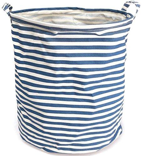 NKTM Collapsible Cylindric Laundry Storage Bucket Basket Hamper for Bedroom Bathroom Kitchen Pantry Nursery Dorm Closet Blue