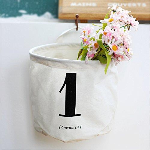 Yiliag Cute Number Printed Storage Bucket Toy Storage Cosmetic Storage-White 1