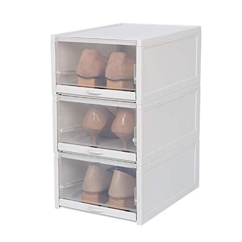 3PCS Shoe Storage Boxes Transparent Folding Shoe Racks Drawer Type Shoe Cabinet Save Space Organizers