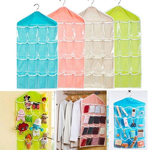 DODOING 16 Pockets Waterproof Clear Over Door Hanging Bag Shoe Rack Hanger Storage Organizernot Included Hanger