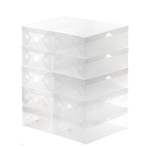 HPPT Clear Foldable Plastic Shoe Storage Organizer Holder Box 10 Pcs  Transparent