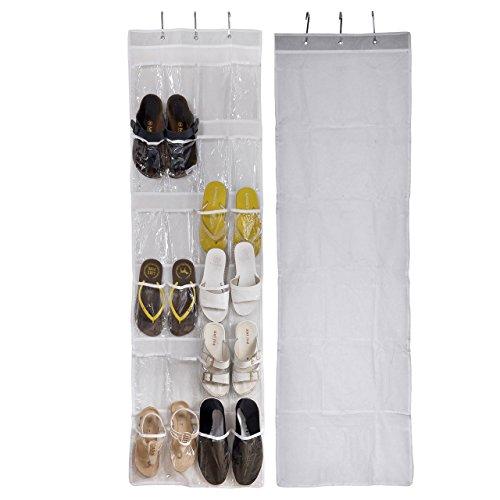 Yerwal Over The Door Clear Shoe OrganizerStorage Hanger Jewelry Colletion 24 Pocket