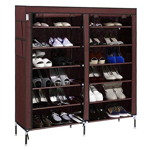 Homdox 7-Tier Shoe Rack Portable Shoe Storage Cabinet Organizer with Covered Shoe Shelf