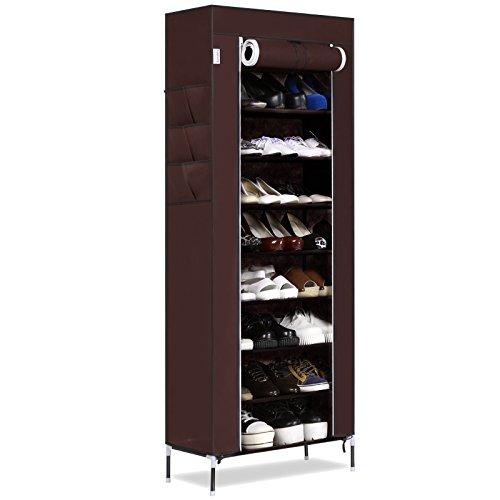 Homdox Portable Shoe Rack Closet with Fabric Cover Shoe Storage Organizer Cabinet
