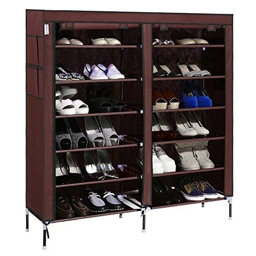 Lantusi Portable Detachable Shoe Storage 6 Tiers Shoe Rack for 30 Pairs Shoe with Dustproof CoverUS Stock Coffee