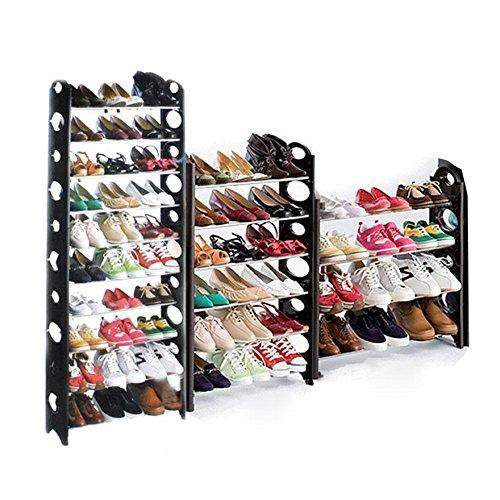 Fanala 10 Tier 3050 Pair Shoes Portable Folding Shoe Tower Free Standing Organizer Space Saving Shoe Rack Holder50 Pairs