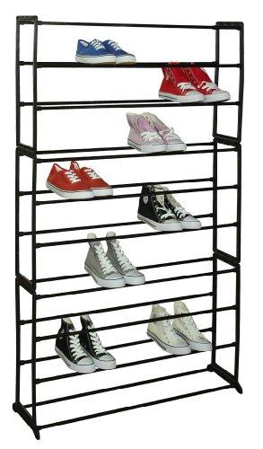 Sunbeam 50-Pair Shoe Rack Black