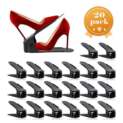 AQUAPRO Shoe Slots Organizer Adjustable Shoe Stacker Space Saver Double Deck Shoe Rack Holder for Closet Organization 20-PackBlack
