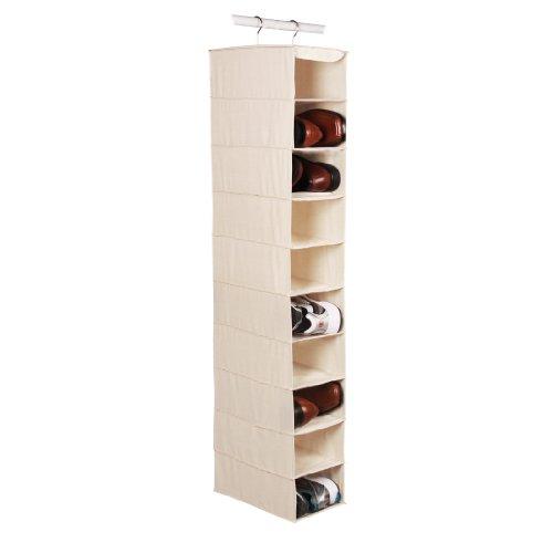 Richards Homewares Hanging Ten Shoe Large Shelf Organizer-CanvasNatural 50 x 14 x 8