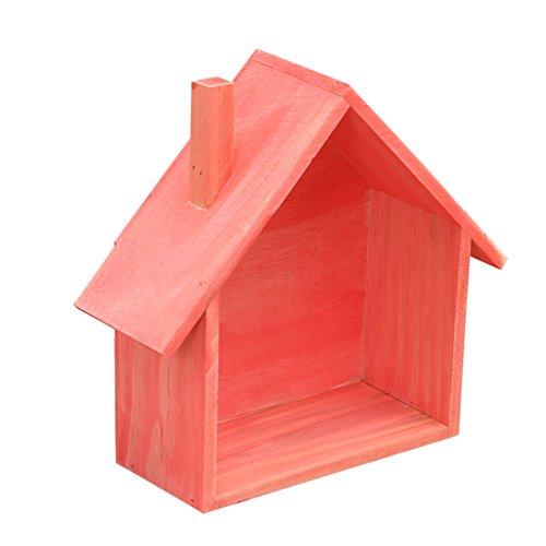 Ibnotuiy Wall Mounted Tabletop House-Shaped Wooden Shelf Rack Mini Storage Box Holder Flower Pot Home Sundries Organizer Pink