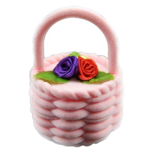 SODIALR 1PC Rose Panier de fleurs design Boucle doreille Bague Display Storage Box Case MAR£¨pink£58 58 8cm