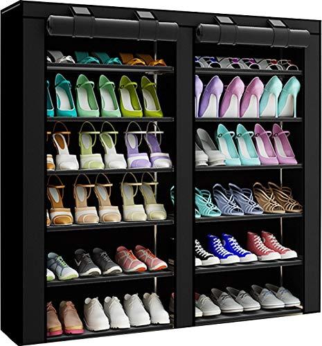 PENGKE 7 Tiers Shoe Rack Storage Organizer with Dustproof Cover Closet Shoe Cabinet TowerBlack Pack of 1