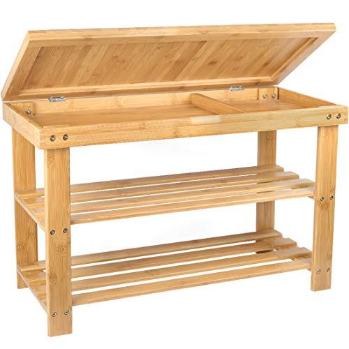 Shoe Rack Storage Bench Bamboo Organizer Entryway Organizing Shelf with Storage Drawer on Top