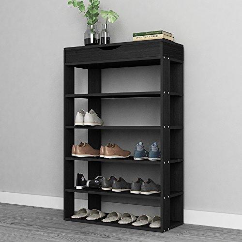 SogesPower 5-Tier Wooden Shoe Rack 295 inches Shoe Organizer with Flip Top Shoe Storage Shelf Black