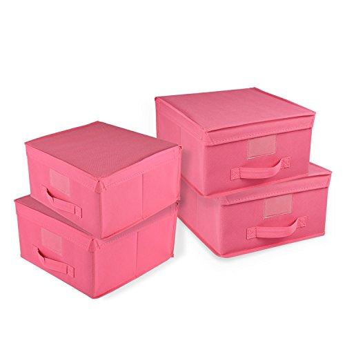 Kubez Large Canvas Storage Box with Lid set of 4 - Pink