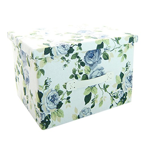 RayLineDo 39L Foldable Canvas Storage Box Clothes Blanket Closet Sweater Organizer Home Docor Box With Blue Flower