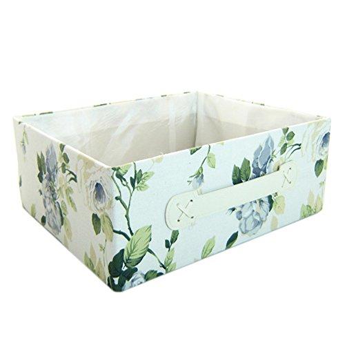 RaylineDo 2X Pecies RayLineDo Foldable Canvas Storage Box Bag Clothes Blanket Closet Sweater Organizer Pastoral style Home Docor Box Posy Blue