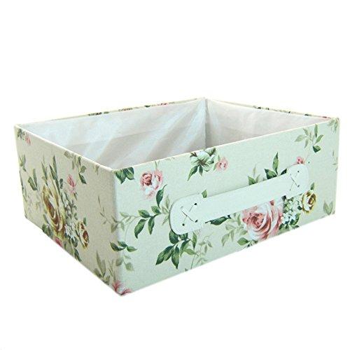 RaylineDo 2X Pecies RayLineDo Foldable Canvas Storage Box Bag Clothes Blanket Closet Sweater Organizer Pastoral style Home Docor Box Posy White