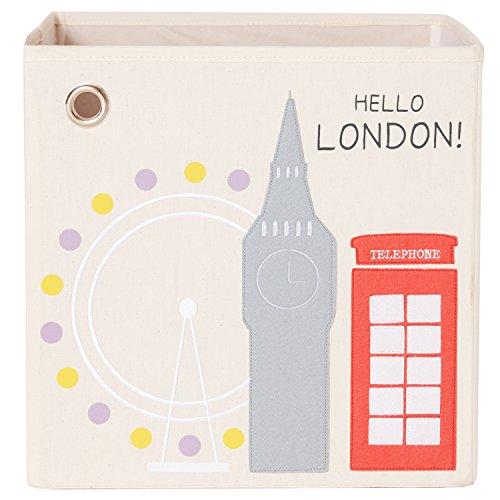 kaikai ash Kids Canvas Storage Box and Toy Bin 13 inch - Hello London
