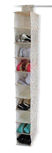 10 pocket Vintage Chintz Style Hanging Shoe Storage Organiser by LLyod Pascal