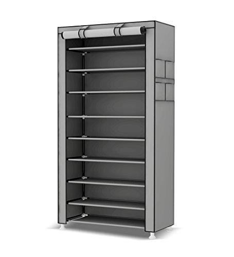 UDEAR 10 Tier Shoe Rack with Dustproof Cover Shoe Shelf Storage Organizer Grey