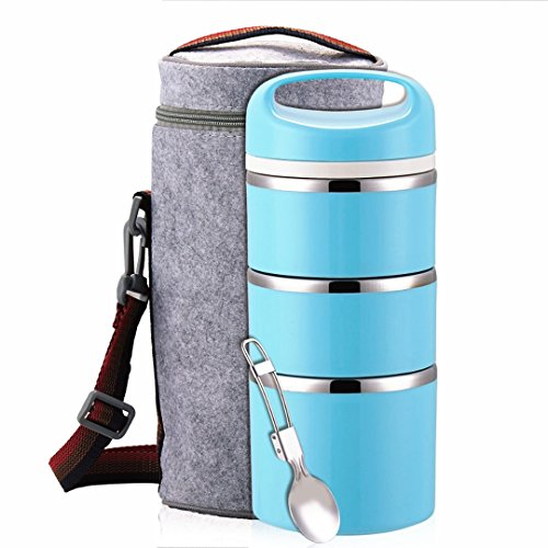 Lille Home Stackable Stainless Steel Thermal Compartment Lunch Box  3-Tier Insulated Bento BoxFood Container with Insulated Lunch Bag Foldable Stainless Steel Spoon Blue