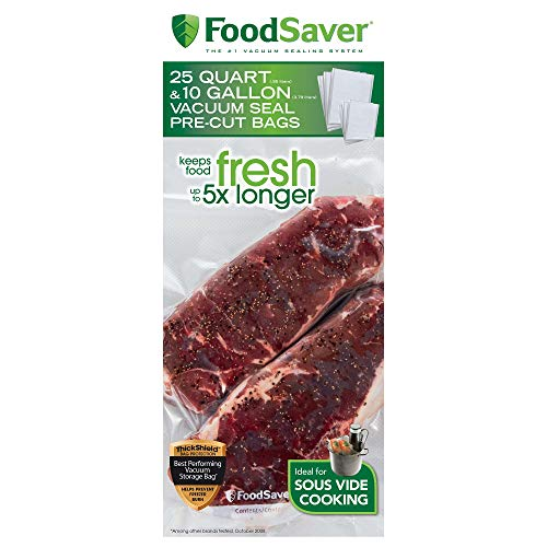 FoodSaver FBSQ25G10-NP Pre-Cut Vacuum Seal Bags Combo Pack for Food Preservation Sous Vide Cooking 25 Quart-Size 10 Gallon-Size Bags