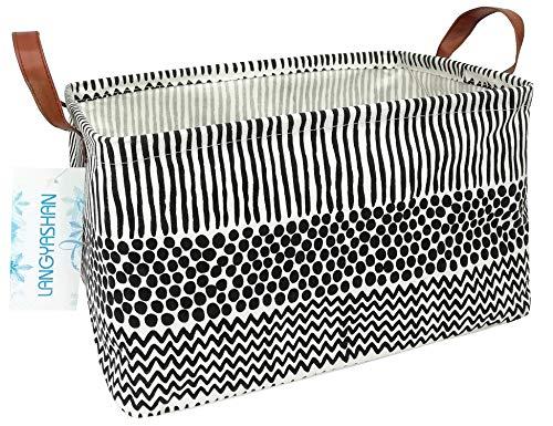 Large Storage Bin Canvas Fabric Folding Gift Basket with Handles- Toy BoxToy StorageToy Organizer for Boys and Girls - Nursery HamperBlack line