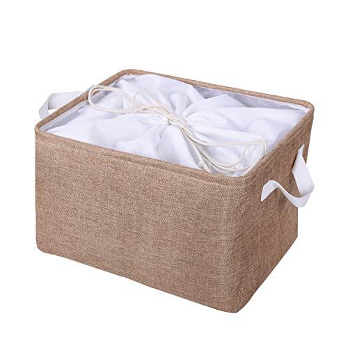 Little Funny Fabric Storage Basket Canvas Storage Bins with Handles Collapsible Nursery Hamper Storage Baskets for Closet Shelf LaundryRectangle Brown