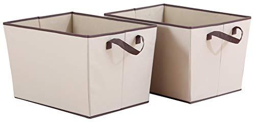 STORAGE MANIAC XL Storage Baskets Rectangular Open Storage Bins Polyester Canvas Foldable Container with 2 Handles
