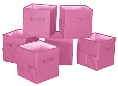 Storage Maniac 6-Pack Foldable Storage Cubes Basket Bins with Side Pockets Full Coroplast Storage Organizer Drawers Polyester Canvas Pink