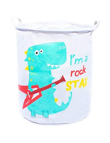 owhizz Laundry Basket with Handles Waterproof Canvas Large Storage Bin Foldable Organizer 15 Inch Dinosaur Rockstar