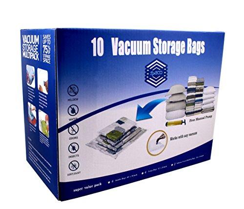 SPACO Jumbo Large Vacuum Seal Storage Bags-Space Saver Storage Bags Works With Any Vacuum Cleaner  Free Pump10 Bags Pack